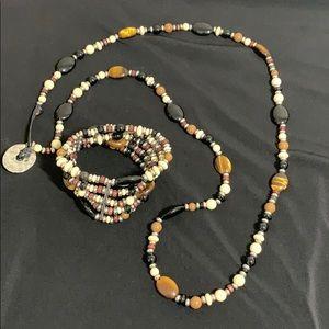 Chaps long necklace and bracelet set